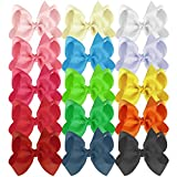 Habibee Kids Toddlers Grosgrain Ribbon Hair Bows for Girls 6 Inches Baby Girl Hair Clips Bow Accessories Set of 15