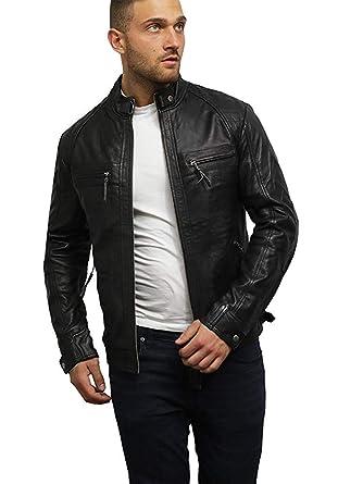 online retailer 6a6e4 c56bd Brandslock Uomini Genuino Pelle Biker Giacca