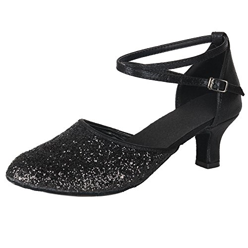 Black MF1802 Dance Model Shoes Samba Shoes 5cm Ballroom Latin Glett Modern HROYL Women 5 Chacha Leather Dance SawTT1