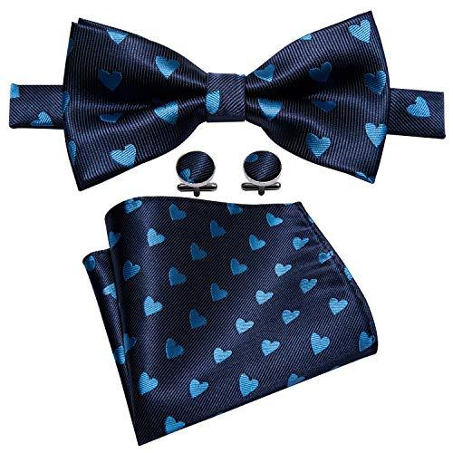Barry.Wang Pre-tied Bow Tie Set for Party Blue Heart Silk Tie Handkerchief Cufflinks