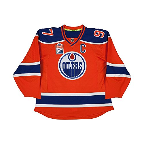 CONNOR MCDAVID Autographed Authentic Edmonton Oilers Orange Jersey with Captain and Inaugural Patches UDA Signed Autographed Oilers