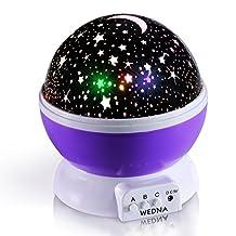 WEDNA Rotating Galaxy Night Light, Romantic Cosmos Star Moon Sky Projector, Bedside Lamp, Rotation Light, Night Sky Projector for Babies and Kids Bedroom (Purple)