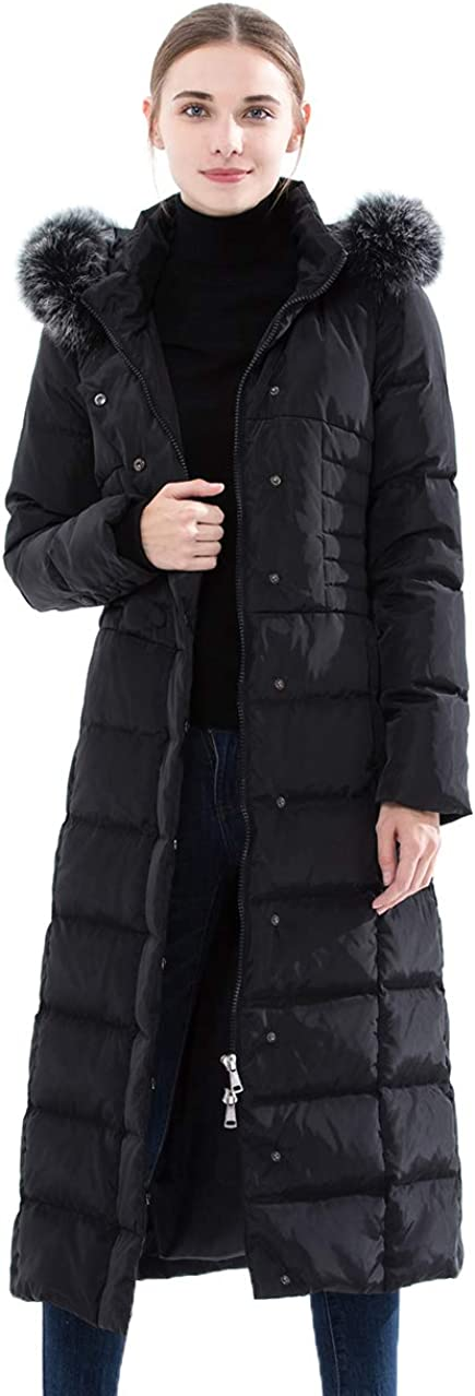Obosoyo Women's Hooded Thickened Long Down Jacket Maxi Down Parka Puffer Coat