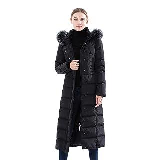 Obosoyo Women's Hooded Thickened Long Down Jacket Maxi Down Parka Puffer Coat (Black, XS)