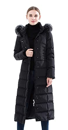 36f188d2369f60 Obosoyo Women's Hooded Thickened Long Down Jacket Maxi Down Parka Puffer  Coat (Black, ...