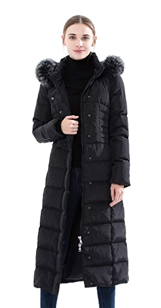 9c5f4cd0c Obosoyo Women's Hooded Thickened Long Down Jacket Maxi Down Parka Puffer  Coat
