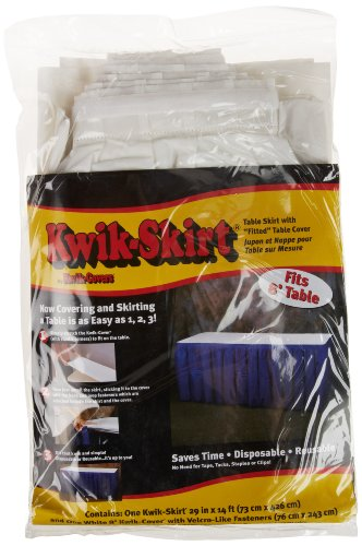Kwik-Cover KS3096PK-W PKG. White Kwik-Skirt With 30'' X 96'' White Cover Fitted Table Cover With Skirt, (1 full case of 10) by Kwik-Covers