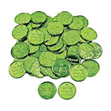 Fun Express - Plastic 4-Leaf Clover Good Luck Coins for St. Patrick's Day - Toys - Value Toys - Play Money - St. Patrick's Day - 144 Pieces