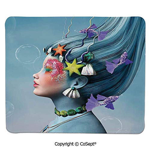 Quality Selection Comfortable Mouse Pad,Woman with Underwater Themed Make Up Hairstyle Starfishes Seashells Fishes Bubbles,for Laptop,Computer & PC (7.87