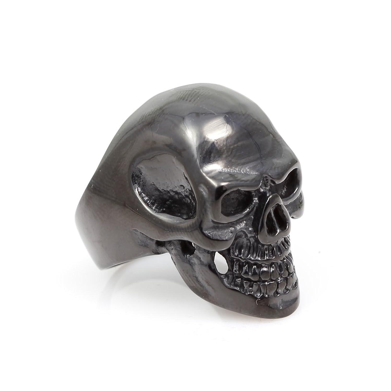 Moon Wings 316LStainless Steel Mens Black Color Skull Ring
