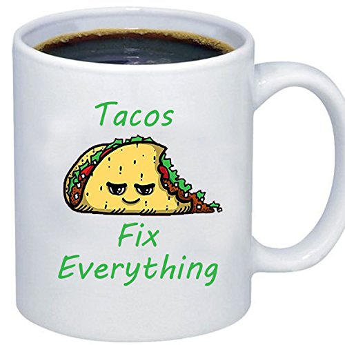 Hot Sauce Costume Taco Bell - ZMvise Custom Art Tacos Fix Everything White Ceramic Mug Cup Perfect Christmas Thanksgiving Gfit