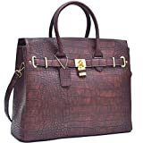 Dasein Faux Leather Padlock Structured Briefcase Satchel Handbag, Tablet, iPad Bag (New Style, K021006 - Coffee)