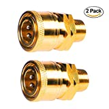 YAMATIC Pressure Washer Solid Brass Quick Coupler Fitting, 3/8'' Quick Connector Male NPT QC Socket, Up to 5000 PSI (3/8''M + 3/8''QC)