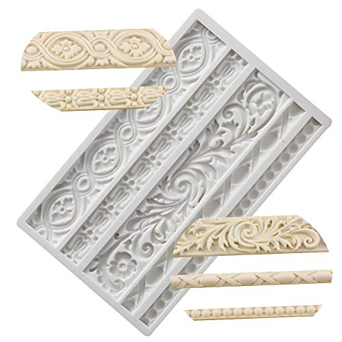 Neepanda DIY Baroque Scroll Relief Cake Border Silicone Molds, Baroque Style Curlicues Scroll Lace Fondant Silicone Mold, European Frame Cake Decorating Tools, Relief Flower Lace Mould Mat(Gray) (Molds Applique)
