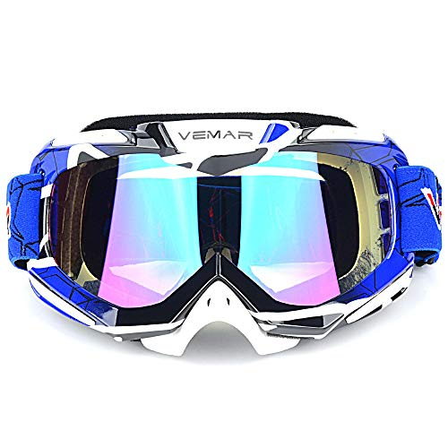 - Polarized Sport Motorcycle Motocross Goggles ATV Racing Goggles Dirt Bike Tactical Riding Motorbike Goggle Glasses, Bendable Windproof Dustproof Scratch Resistant Protective Safety Glasses (Blue)