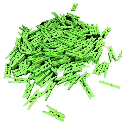 Gilroy Mini Multicolor Wooden Clothespins Photo Paper Peg Pin Craft Clips,100 Pieces - Green