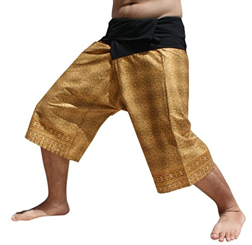 Raan Pah Muang Sukhothai Bold Thai Batik Cotton Fisherman Wrap Shorts, XX-Large, Floral Art Brown
