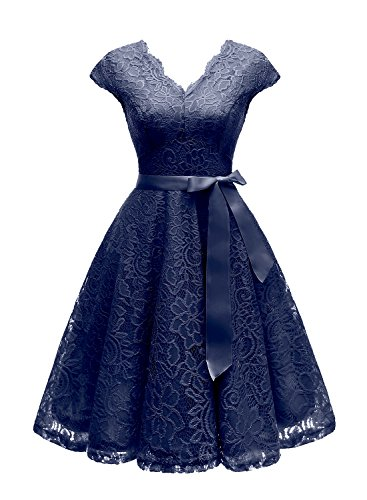 Vinvv Women's Short Vintage Floral Lace Dress V-Neck Cap Sleeve Belt Bridesmaid Party Cocktail Dress Navy -