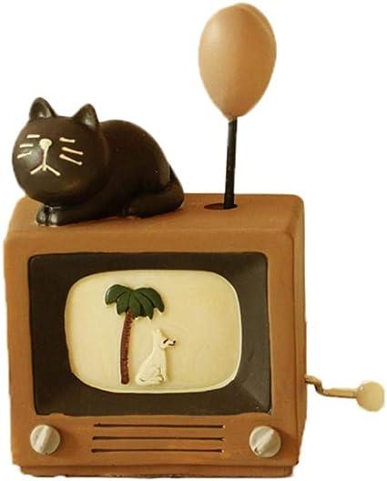 WRUMLJUFX Amor Creativo Cat Music Bell de manecilla Chica corazón Linda Caja de Musica Chica cumpleaños Regalo Gatito,Love Black Cat Balloon Music Box: Amazon.es: Hogar
