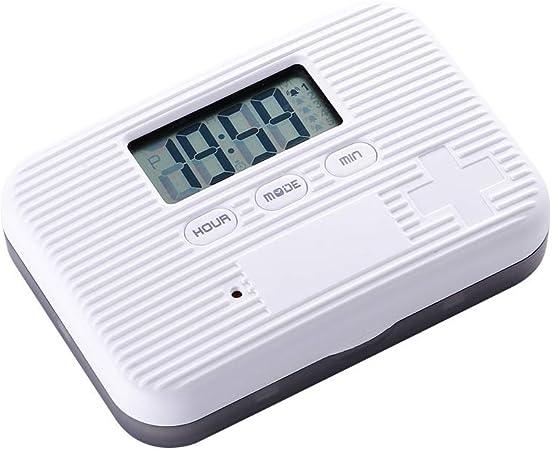 Xiaoais shop Caja de Pastillas pequeña con Temporizador electrónico portátil, Caja de Pastillas de Almacenamiento sellada separada (Puede configurar 5 Grupos de Relojes de Alarma),Gris: Amazon.es: Hogar