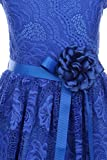 Cap Sleeve V Neck Flower Border Stretch Lace Corsage Belt Flower Girl Dress