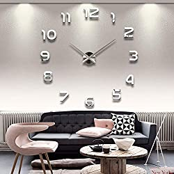 3D DIY Wall Clock,Modern Frameless Large Sticker Mirror Wall Decorative Clocks for Home Living Room Bedroom Office Decoration (Silver 2)