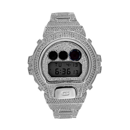 Custom Designer Iced out White Lab Diamond Casio Gshock DW6900 White Gold Tone Icy Bling Watch by iRockBling