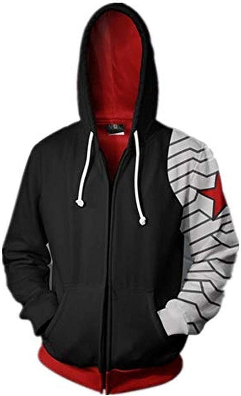 Mempire Herren Hoodies Kapuzenpullover mit Print Winter Soldier Cosplay Sweatshirts mit Rei/ßverschluss