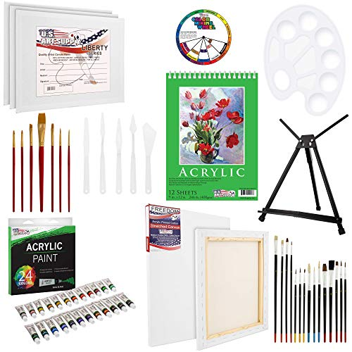U.S Art Supply 60-Piece Deluxe Acrylic Painting Set with Aluminum Tabletop Easel, 24 Acrylic Colors, Acrylic Painting…