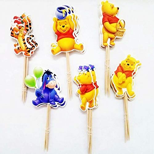 BeesClover 24pcs Winnie The Pooh Tiger Bear Donkey Balls Cupcake Toppers Picks Kids Birthday Party Wedding Decoration Cake Supplies Show