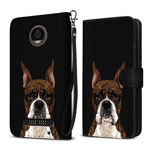 FINCIBO Case Compatible with Motorola Moto Z2 Play 2nd Gen 2017, Protective Flip Canvas Pouch Case Card Holder TPU Cover for Moto Z2 Play 2017 (NOT FIT Z2, Z Play) - Cute Brindle Pattern Boxer Dog ()