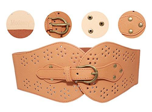 Modeway-Womens-Retro-Wide-Leather-Bronze-Buckle-Elastic-Stretch-Cinch-Waist-Belt
