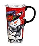Cypress Home Houndstooth Snowman Ceramic Travel Coffee Mug with Silicone Handle, 17 ounces