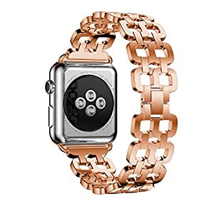 USDREAM Luxury Metal Wristbands Replacement iWatch Stainless Steel Strap with Strong Clasp for Apple Watch.
