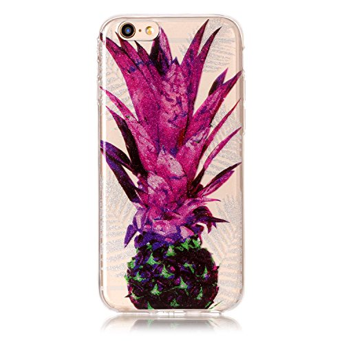 Custodia iPhone 6 / 6S , LH Foglie Viola Ananas TPU Trasparente Silicone Cristallo Morbido Case Cover Custodie per Apple iPhone 6 / 6S 4.7