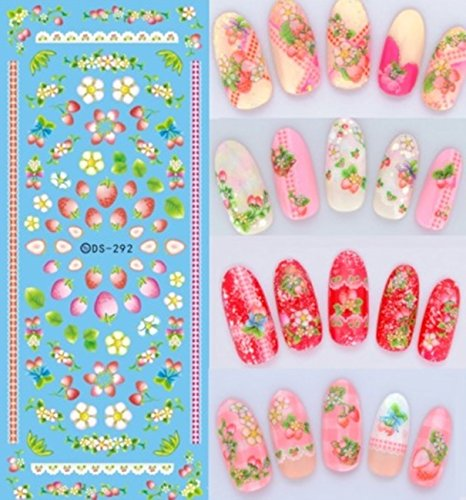 1 Pack Colorful Purple Fantacy Flowers Nail Art Sticker Foil Water Transfer Nails Wrap Paint Tattoos Stamp Plates Templates Tools Tips Kits Dazzling Popular Xmas Stick Tool Vinyls Decals Kit, Type-15 ()