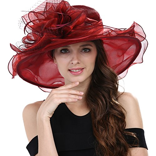 - Janey&Rubbins Women's Kentucky Derby Racing Horse Hat Church Wedding Dress Party Occasion Cap (Red)