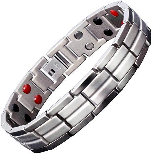 Titanium Magnetic Bracelet for Men Small Large X-Large 4 Healing Elements Magnetic Wristband for Arthritis Pain Energy Balance Ion Bracelet +Gift - Bracelet Pain Balance $10