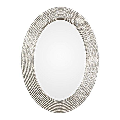 Elegant Silver Ribbed Organic Style Wall Mirror | Oval Twig Reeded Vanity (Designer Bathroom Mirrors)