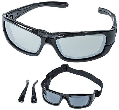 Motorcycle Riding Sunglasses with Foam - for Men and Women - Convertible Sidearms to Riding Goggles in seconds. Smoke Lens with Mirrored - Sunglasses What Are Mirrored