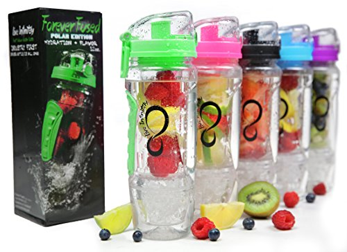 Live Infinitely 32 oz. Infuser Water Bottles - Featuring First Ever Gel Freezer Ball Infusion Rod, Flip Top Lid, Larger Dual Hand Grips & Recipe Ebook Gift (Green)