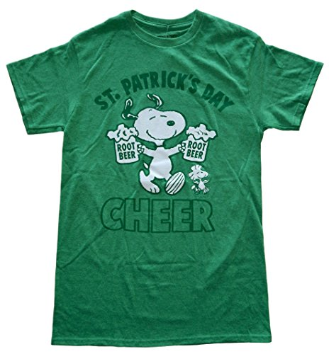 Peanuts Snoopy St. Patrick's Day Cheer Double Up Mens Green T-Shirt S ()