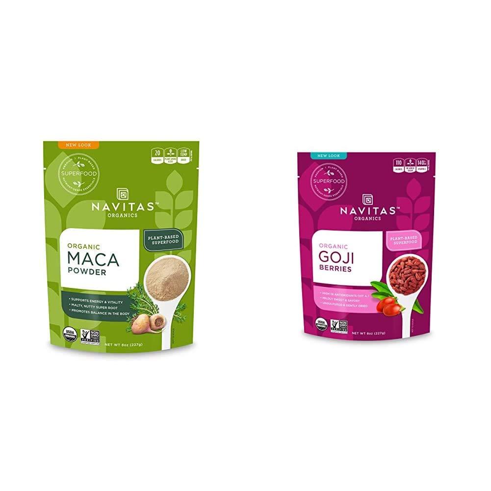 Navitas Organics Maca Powder, 8 oz. Bag — Organic, Non-GMO, Low Temp-DriedGluten-Free & Goji Berries, 8oz. Bag — Organic, Non-GMO, Sun-Dried, Sulfite-Free