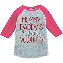 Custom Party Shop Girl's Little Valentine Happy Valentine's Day 4T Pink Raglan