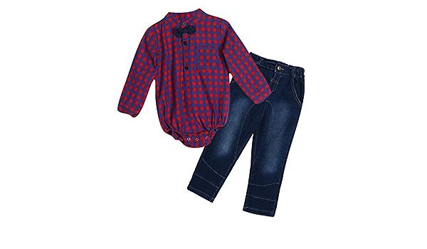 Para bebé Niños señorías lazo camisa de cuadros Pelele ...