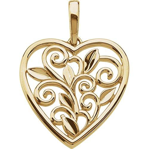 Scroll & Leaf Design Filigree Heart Pendant (Leaf Design Filigree Pendant)