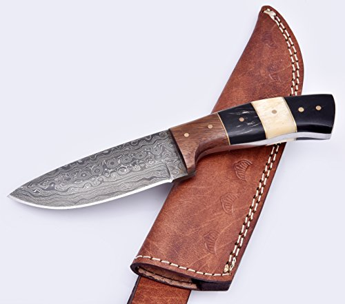 Nescole 8 in. Bowie Knife- Handmade Damascus Knife- Decorative Knives, Camping Survival Knife, and Hunting Knife with Camel Bone and Walnut Wood Handle, 4 in. Sharp Blade with Leather Sheath