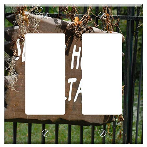 (Switch Plate Double Rocker/GFCI - Sleepy Hollow Sign Cemetary Sign Halloween)
