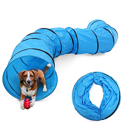 LAZYMOON 16.4Ft Blue Oxford Cloth Dog Agility Equipment Dog Outdoor Obedience Exercise w/Carry Bag