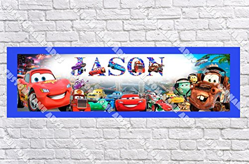(Personalized Disney Pixar's Cars Banner - Includes Color Border Mat, With Your Name On It, Party Door Poster, Room Art Decoration - Customize)